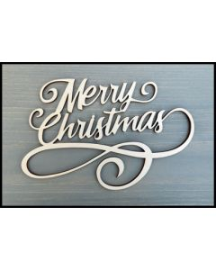 "WS2301 Scroll Merry Christmas Wooden Word Sign 6"" wide x 4"" tall"
