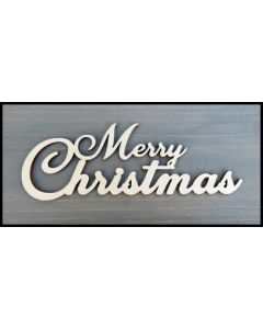 "WS2307 One piece Laser Cut Merry Christmas Sign 8"" wide x 2 3/4"" tall"