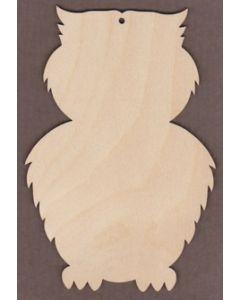 """WT9192-Laser cut Furry Owl-4"""" tall x 2 5/8"""" wide"""