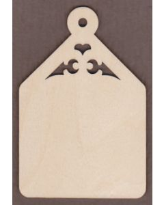"WT9338-Laser cut Tapered Gift Tag Scroll Top-7 1/2"" tall x 5"" wide"