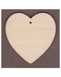 """WT1258-1 Wide Round Heart with 1 Hole -2"""" tall x 2"""" wide"""