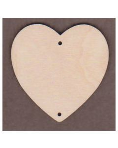 """WT1258-3 Wide Round Heart with 2 Holes -2 1/2"""" tall x 2 1/2"""" wide"""