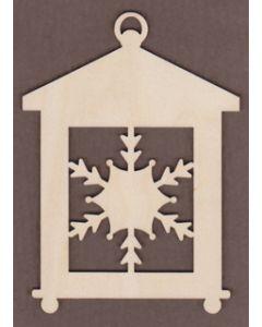 "WT3501-Laser cut Square Snowflake Lantern-4"" x 5 1/2"""
