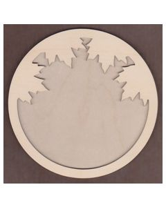 WT1122-Laser cut Circle with Leaves 2 piece Frame Kit