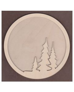 WT1121-Laser cut Circle with Trees 2 piece Frame Kit