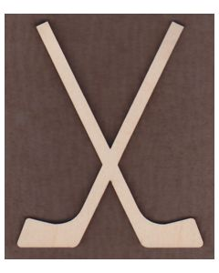 WT1592-Laser cut Crossed Hockey Sticks