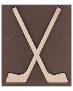 WT1593-Laser cut Crossed Hockey Sticks