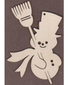 WT1975-Laser cut Snowman with Broom Ornament