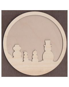 WT1882-Laser cut Circle with Snowman Family  2 piece Frame Kit